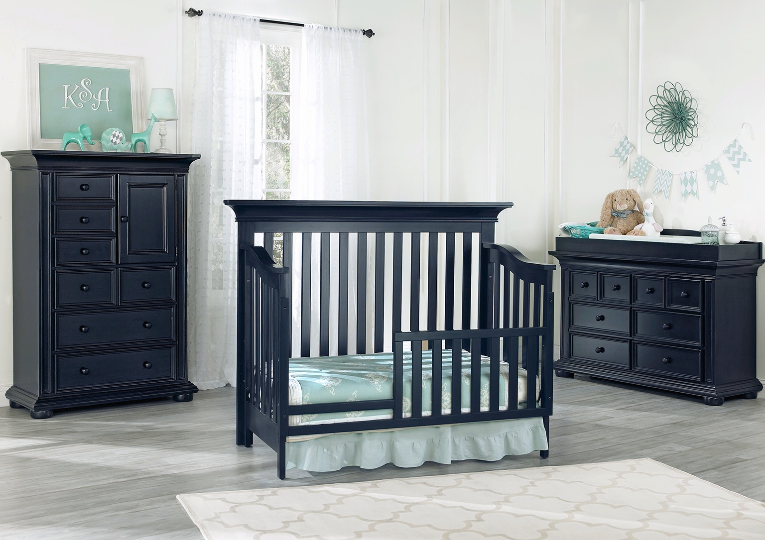 Harlow Navy Midnight Slate Toddler Bed Room Shot