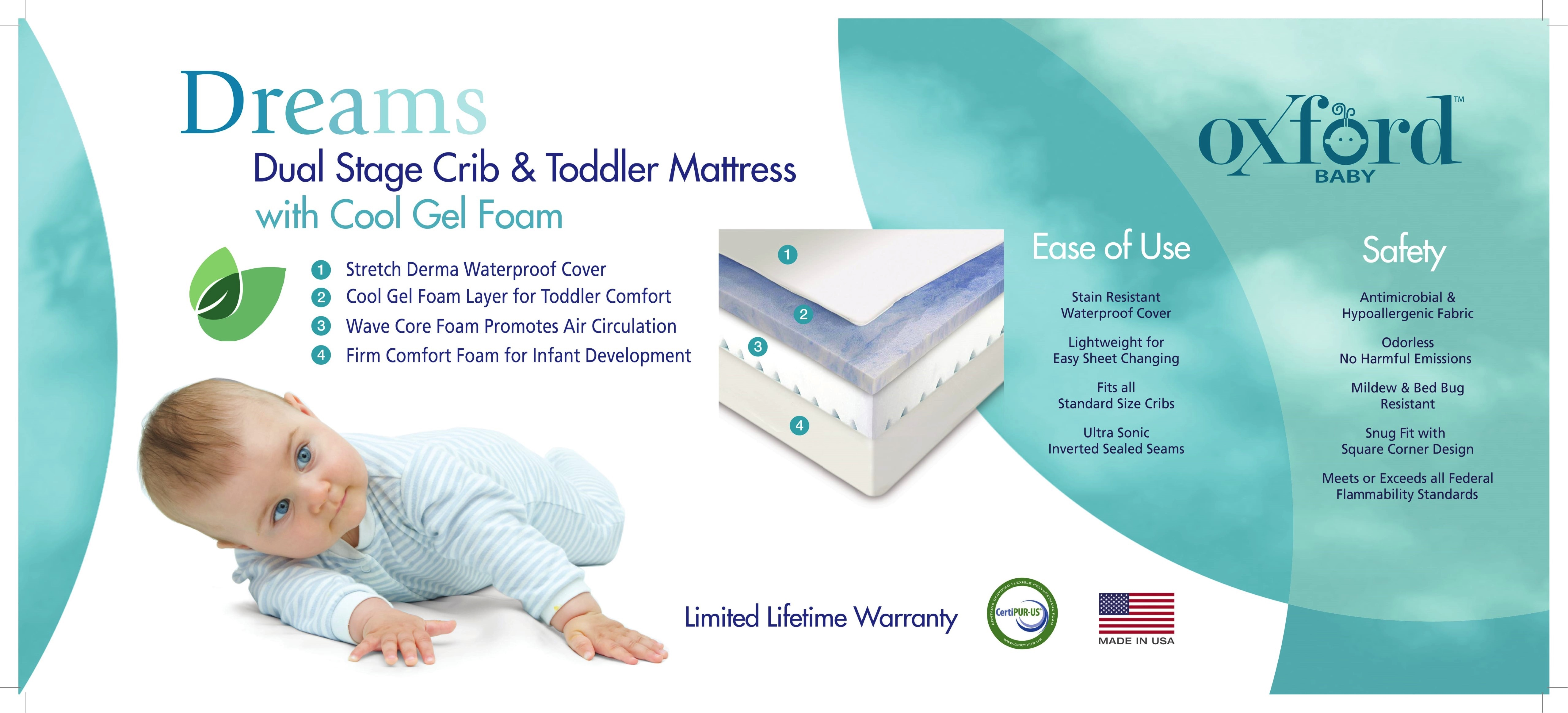 super popular 79650 783cb Dreams - Dual Stage Crib & Toddler Mattress