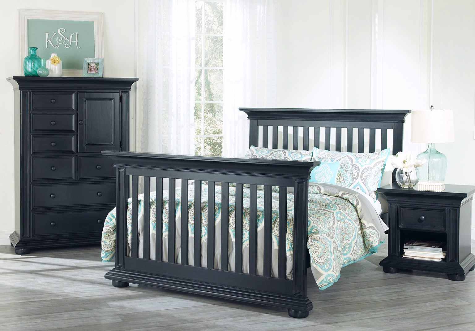 Full bed conversion kit harlow navy midnight slate for Harlowe bed