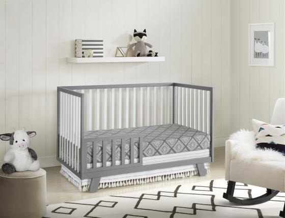 Onni Toddler Bed White Gray RS Angled